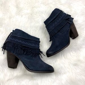 🌺Naughty Monkey Blue Faux Suede Fringe Booties
